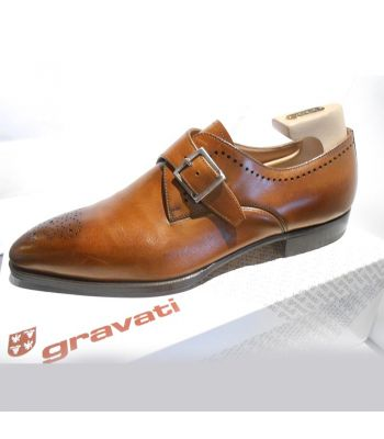 MONK STRAP WITH FLOATING MEDALLION IN COGNAC CALF