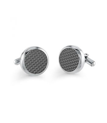 Silver Black Wave Cuff Links