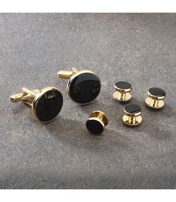 Gold & Black Cufflink & Stud Set