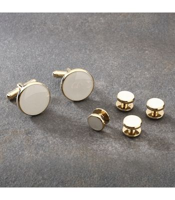 Gold & White Cufflink & Stud Set