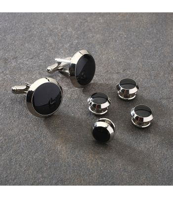 Silver & Black Beveled Cuff Link & Stud Set