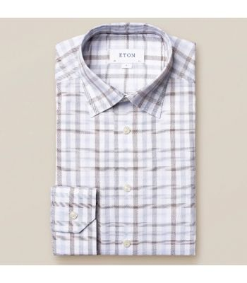 White & Blue Plaid Signature Twill