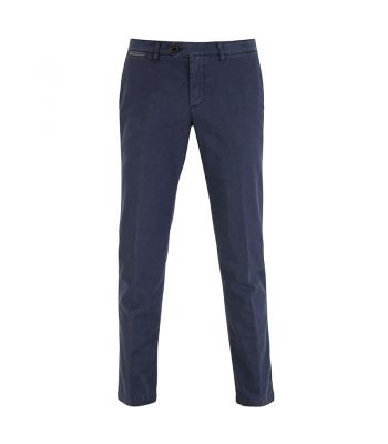 NAVY COTTON FLAT FRONT CHINO