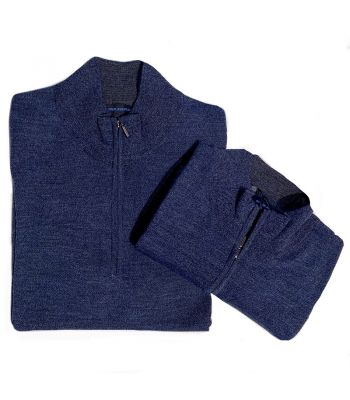 Patrick Assaraf Zip Mock Denim Blue Sweater
