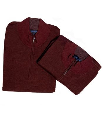 Patrick Assaraf Zip Mock Burgundy Sweater