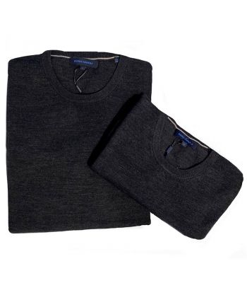 Patrick Assaraf Crew Neck Charcoal Sweater