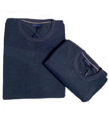 Patrick Assaraf Crew Neck Denim Blue Sweater